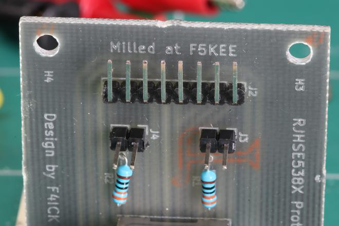 A photo of the milled text of the PCB.